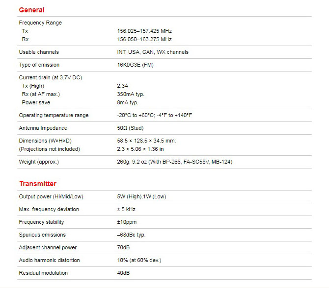 Spesifikasi ht icom ic m24